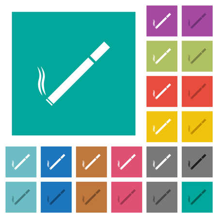 Cigarette multi colored flat icons on plain square backgrounds. Included white and darker icon variations for hover or active effects.