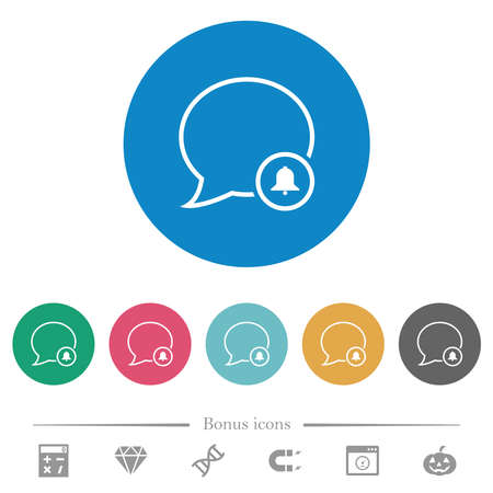 Message alarm outline flat white icons on round color backgrounds. 6 bonus icons included.