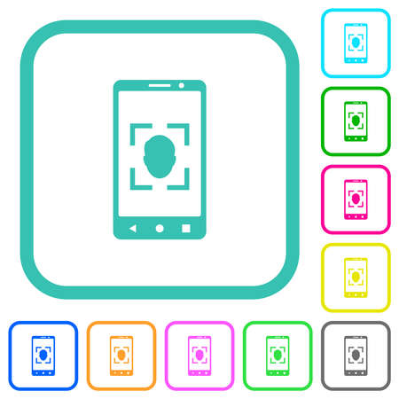 Mobile face detection vivid colored flat icons in curved borders on white background