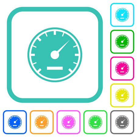 Speedometer solid vivid colored flat icons in curved borders on white background