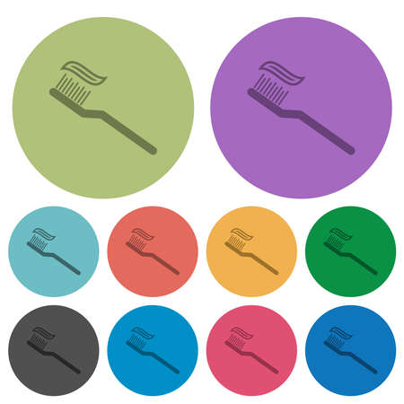 Toothbrush with toothpaste darker flat icons on color round background