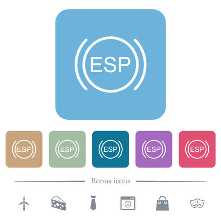 Car electronic stability program indicator white flat icons on color rounded square backgrounds. 6 bonus icons included Stock Illustratie