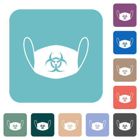 Face mask with biohazard symbol white flat icons on color rounded square backgrounds Stock Illustratie
