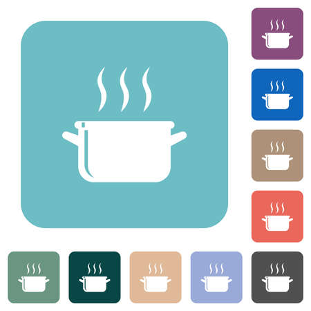 Steaming glossy pot white flat icons on color rounded square backgrounds