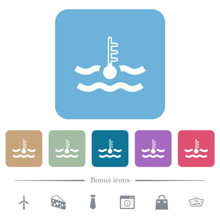 Cold temperature engine coolant white flat icons on color rounded square backgrounds. 6 bonus icons included