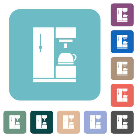 Coffee machine white flat icons on color rounded square backgrounds
