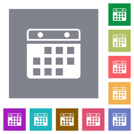 Hanging calendar alternate version flat icons on simple color square backgrounds