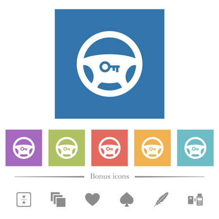 Steering lock flat white icons in square backgrounds. 6 bonus icons included. Stock Illustratie