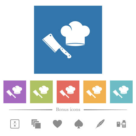 Meat cleaver knife and chef hat flat white icons in square backgrounds. 6 bonus icons included.
