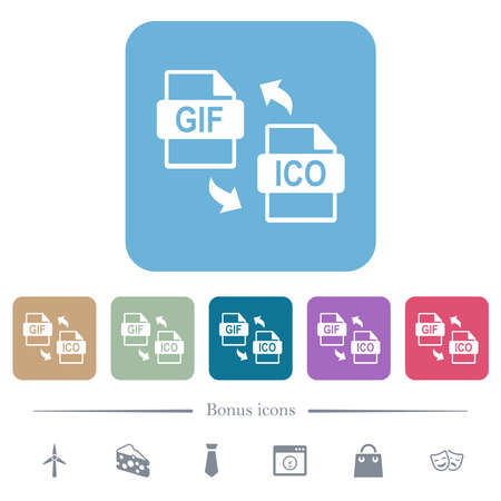GIF ICO file conversion white flat icons on color rounded square backgrounds. 6 bonus icons included
