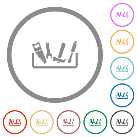 Toolbox flat color icons in round outlines on white background