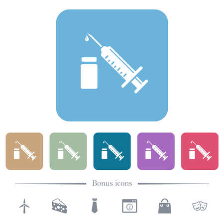 Syringe with ampoule dark push buttons with color icons white flat icons on color rounded square backgrounds. 6 bonus icons included
