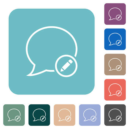 Edit message outline white flat icons on color rounded square backgrounds