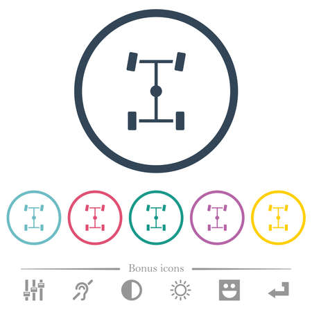 Central differential flat color icons in round outlines. 6 bonus icons included.