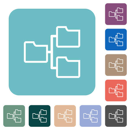 Shared folders outline white flat icons on color rounded square backgrounds