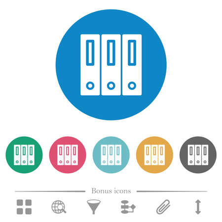 Binders solid flat white icons on round color backgrounds. 6 bonus icons included.