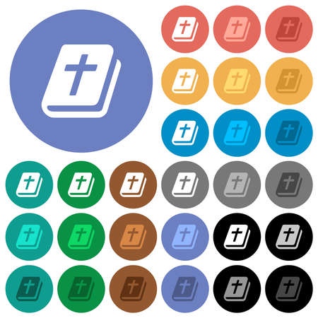 Holy bible multi colored flat icons on round backgrounds. Includes white, light and dark icon variations for hover and active status effects, and bonus shades.
