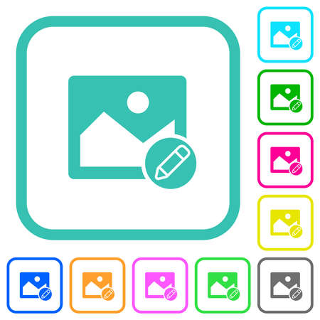 Edit image vivid colored flat icons in curved borders on white background