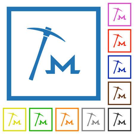 Monero cryptocurrency mining flat color icons in square frames on white background Vektoros illusztráció