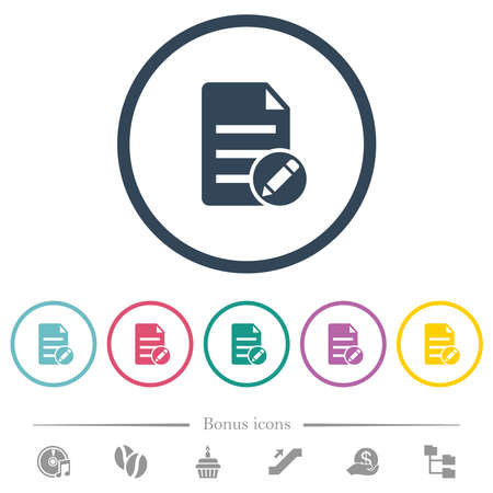 Edit document solid flat color icons in round outlines. 6 bonus icons included. Vecteurs