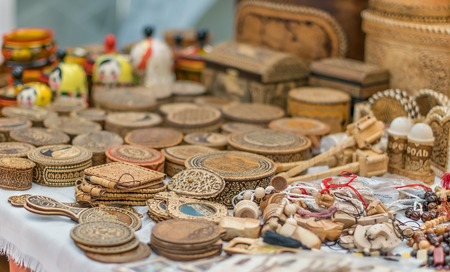 Souvenirs made of wood. Folk art.
