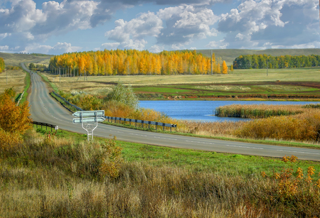 Autumn scenic landscape road going away in valley and lake between the yellow birch forests of nature Russia