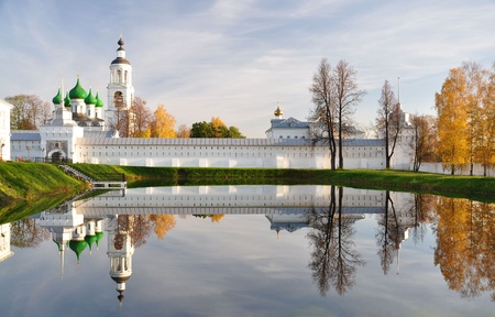 grass plot: Autumn  Monastery  Reflection in the pond    Stock Photo