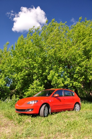 Red car in the countryside  Summer day Stock Photo - 13077432