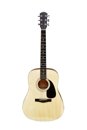 guitar illustration: An acoustic steel string guitar on white background