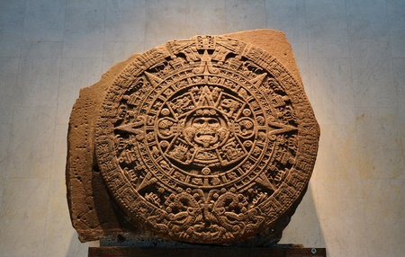 anthropological: An Ancient Aztec Calendar Stone In the Anthropological Museum in Mexico City
