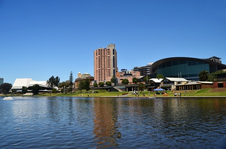adelaide: The Adelaide skyline as viewed from the River Torrens in South Australia.