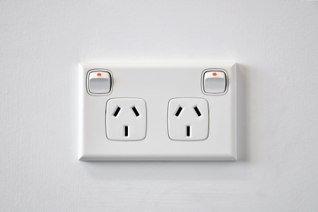 A white Australian wall power outlet Stock Photo - 10681001