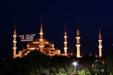 istanbul night: The Blue Mosque in Istanbul Turkey, illuminated at night.