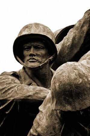 A close up view of the Iwo Jima Memorial statue in Arlington