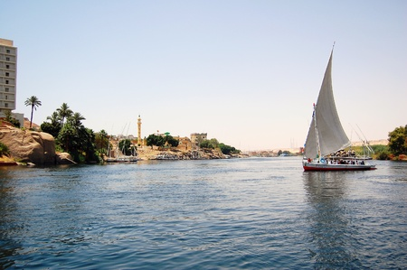 mid afternoon: Felluca sailing down the Nile River in Egypt.