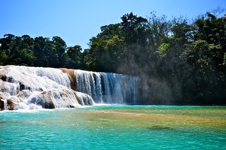 cataract falls: Agua Azul waterfalls in Mexico