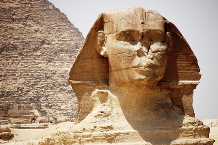 The head of the Sphinx in Giza, Egypt.  photo