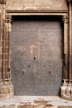 An large iron door in the streets of Barcelona, Spain. photo