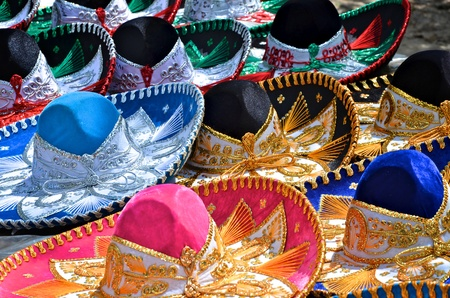 mexican sombrero: Colorful sombreros for sale at a market in Mexico.