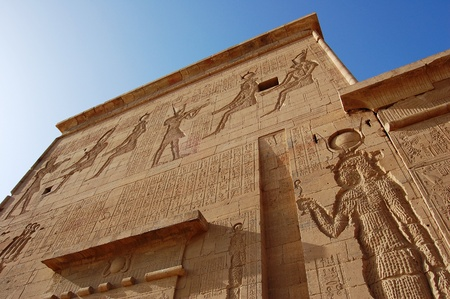 Dramatic view of an outside wall at Philae Temple in Egypt. photo