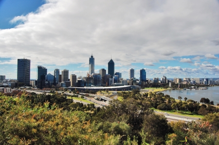 perth: The Perth skyline as seen from Kings Park.  Stock Photo