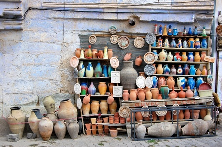 clay craft: Traditional clay pottery for sale in Goreme, Turkey
