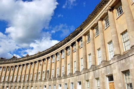 old moon: The famous circular Royal Crescent building in Bath, England.