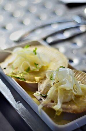 Gourmet serving of scallops photo