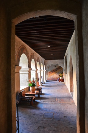 architectural tradition: Colorful archway interior in Mexico