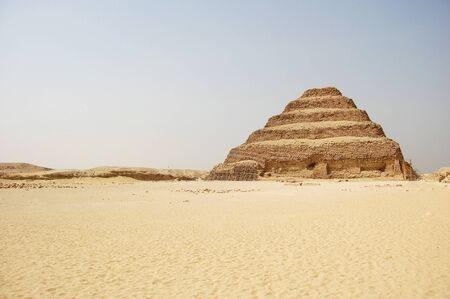 citadel: The ancient stepped pyramid at Saqqara in Egypt.  Stock Photo