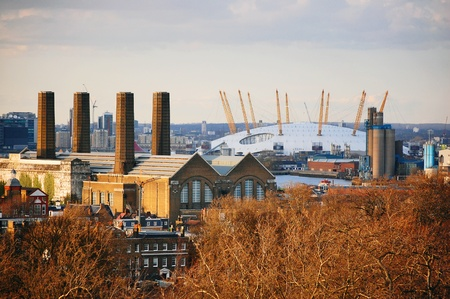 east end: The O2 Arena in London viewed from Greenwich Park.