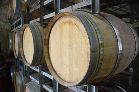 Wine barrels in storage at a winery in the Adelaide Hills, South Australia   Stock Photo - 12525291
