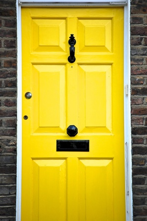 Yellow door in England   photo