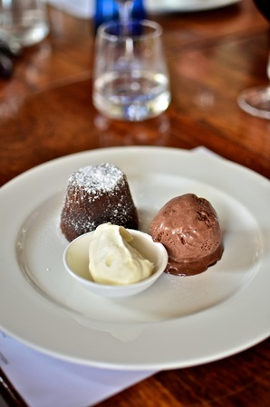 Soft Centred Chocolate Pudding with Chocolate Ice Cream  photo